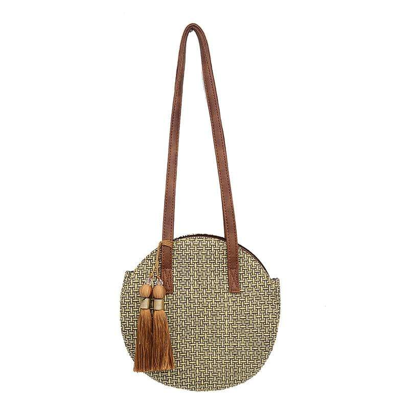 Obangbag Khaki Women Chic Vintage Tassel Lightweight Round Woven Straw Shoulder Bag Crossbody Bag for Travel for Beach