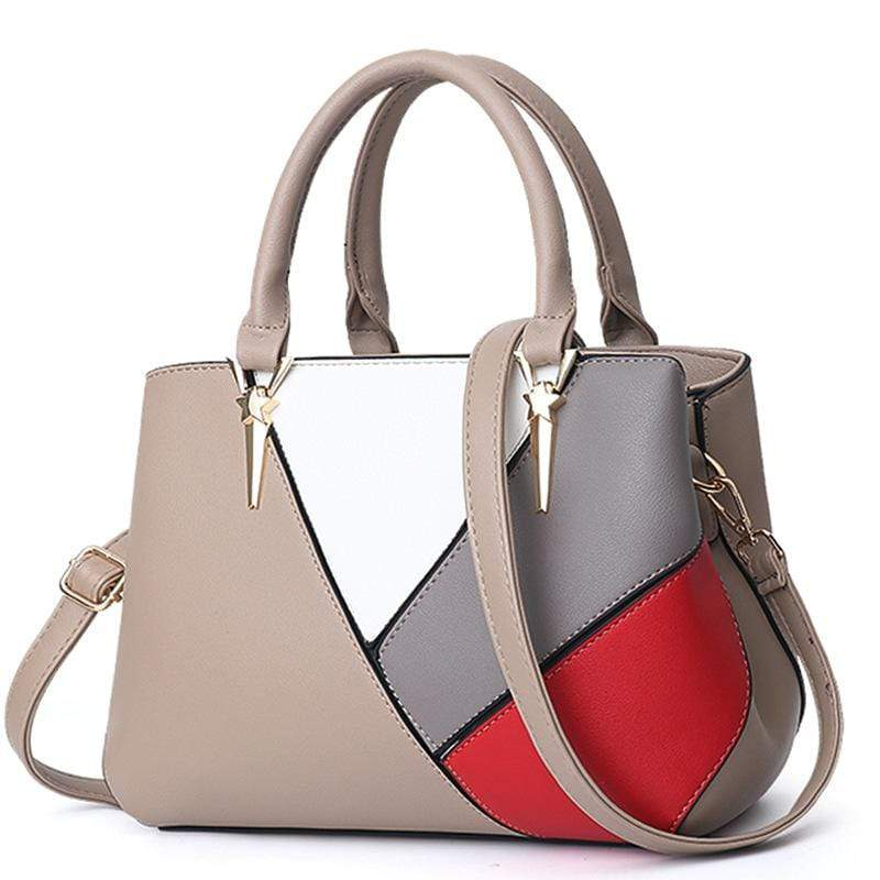 Obangbag Khaki Women Cute Stylish Professional Multi Pockets PU Leather Handbag Shoulder Bag Crossbudy Bag for Work