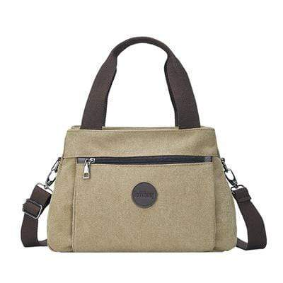 Obangbag Khaki Women Fashion Canvas Multi Pocket Handbag Shoulder Bag Crossbody Bag