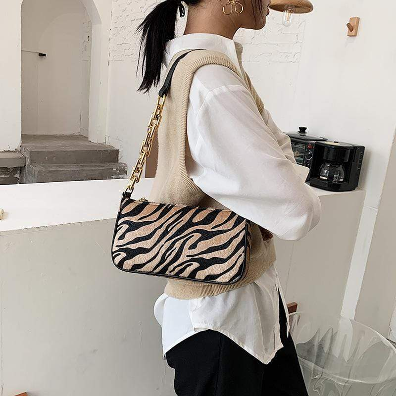 Obangbag Khaki Women Fashion Vintage Chic Roomy Lightweight Zebra Pattern Velvet Handbag Underarm Bag Baguette Bag