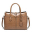 Obangbag Khaki Women Large Capacity Elegant Crocodile Skin Pattern PU Leather Handbag