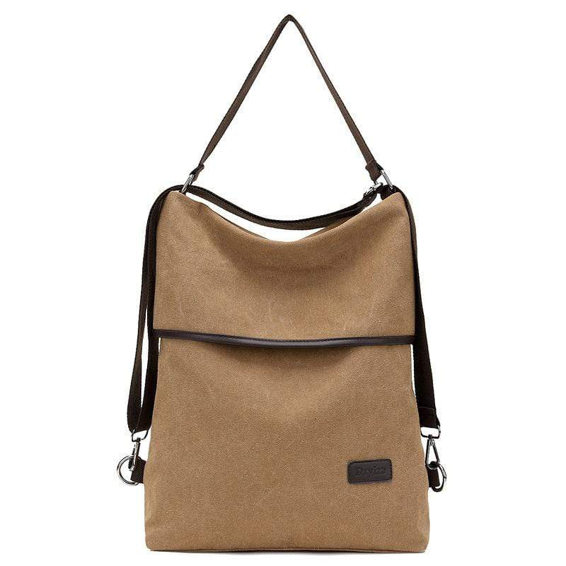 Obangbag Khaki Women Simple Casual Multifunction Large capacity Lightweight Canvas Backpack Shoulder Bag Crossbody Bag for Work for School