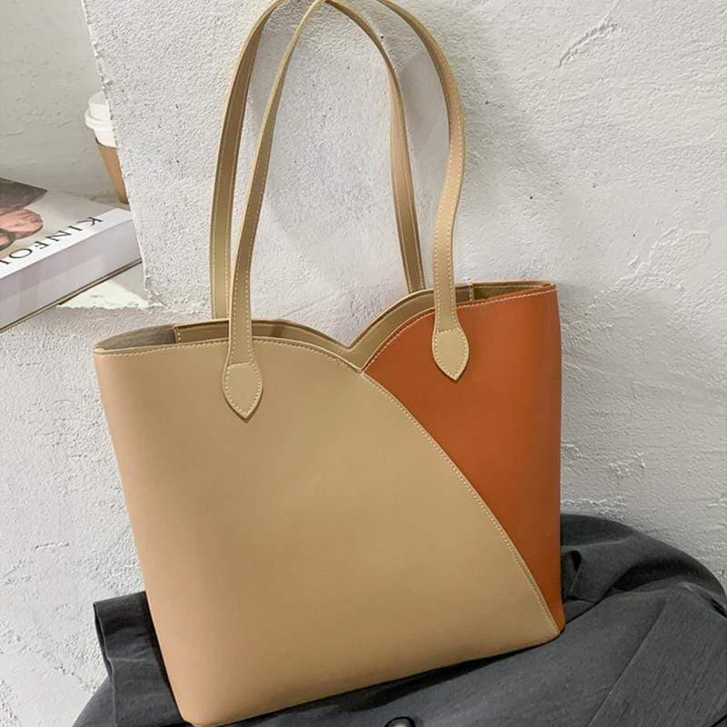 Obangbag Khaki Women Simple Casual Roomy Lightweight Leather Tote Bag Handbag for Work