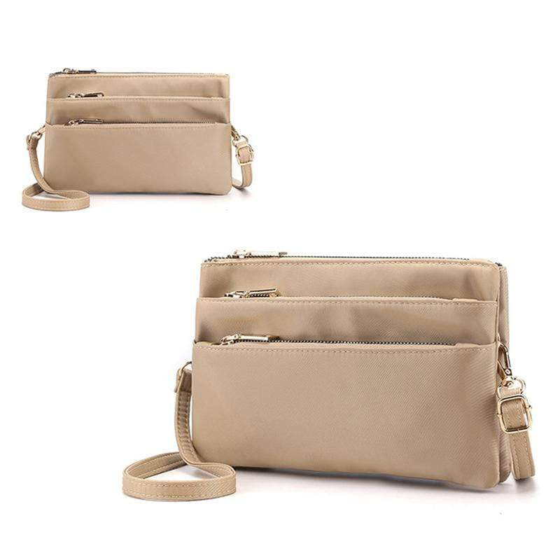 Obangbag Khaki Women Simple Lightweight Multi Layers Daily Multi Pockets Nylon Shoulder Bag Crossbody Bag