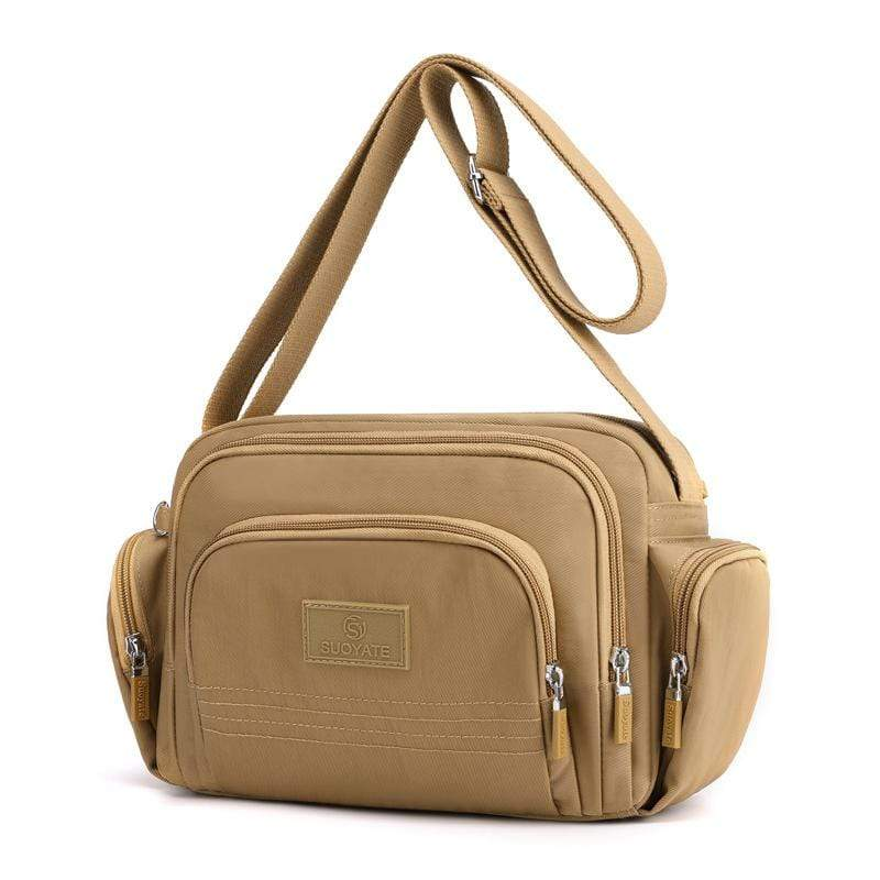 Obangbag Khaki Women Simple Multi Pockets Multifunction Lightweight Waterproof Nylon Shoulder Bag Crossbody Bag