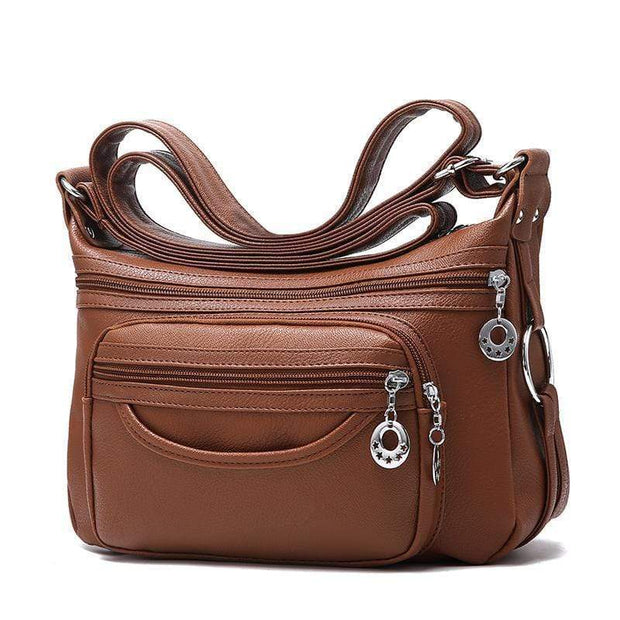 Obangbag Khaki Women Soft Leather Large Capacity Multifunction Crossbody Bag Shoulder Bag