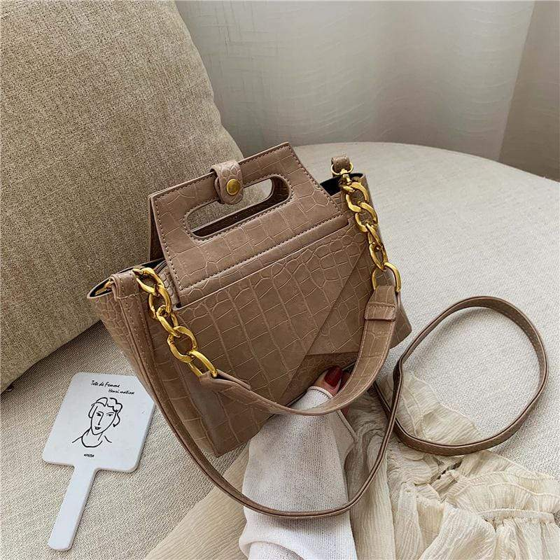 Obangbag Khaki Women Vintage Chic Fashion Roomy Multifunction Crocodile Pattern Leather Crossbody Bag Handbag Bag Set