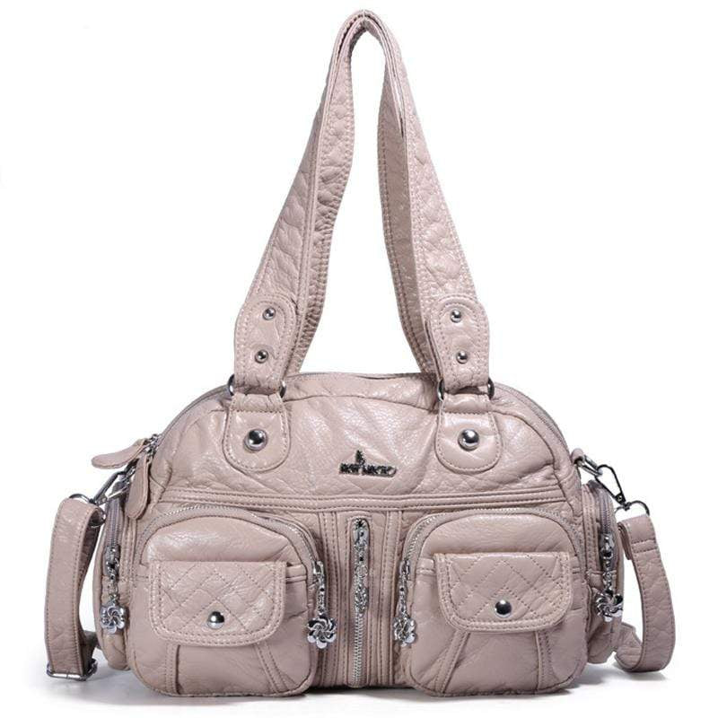 Obangbag Khaki Women Vintage Fashion Professional Multi Pockets Roomy Soft Leather Shoulder Bag Crossbody Bag