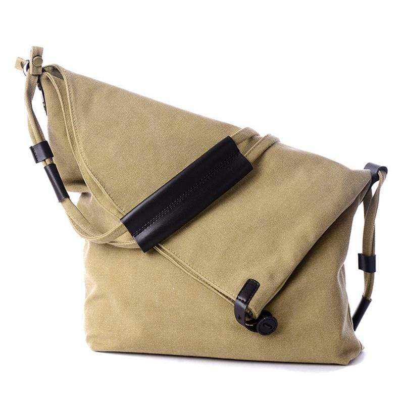 Obangbag Khaki Women Vintage Fashion Simple Large Capacity Multifunction Canvas Shoulder Bag Crossbody Bag for School