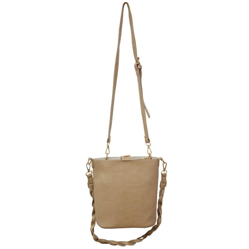 Obangbag Khaki Women Vintage Roomy Lightweight Woven Daily Crocodile Pattern Leather Bucket Bag Bag Set Crossbody Bag