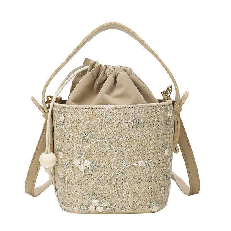 Obangbag L / Flower khaki Ladies Summer Straw Bag Beach Bag Portable Bucket-Shaped Handbags Shoulder Diagonal Package