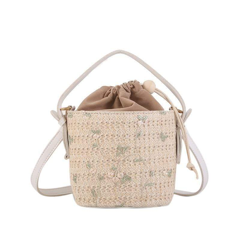 Obangbag L / Flower white Ladies Summer Straw Bag Beach Bag Portable Bucket-Shaped Handbags Shoulder Diagonal Package