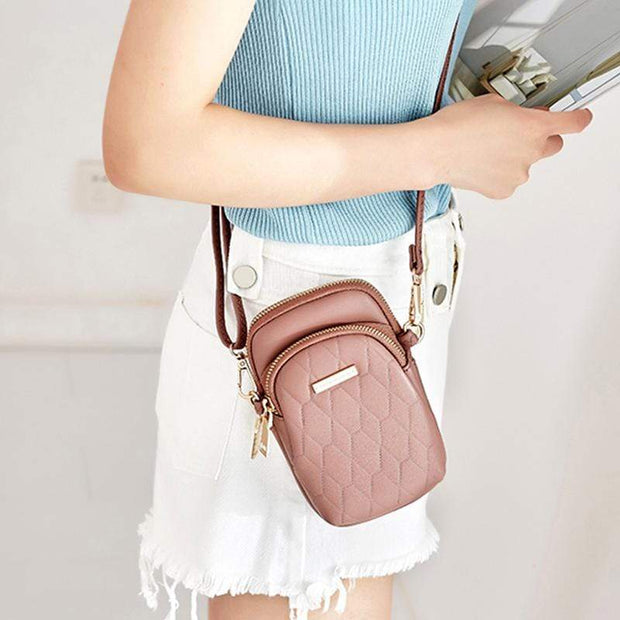 Obangbag Ladies Fashion Mini Leather Crossbody Bag Phone Bag
