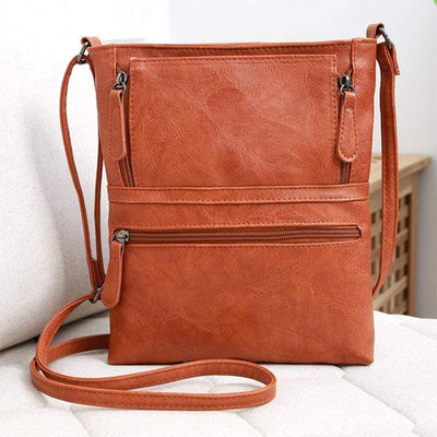 Obangbag Ladies Fashion Multi Pockets Zipper Small Leather Shoulder Bag