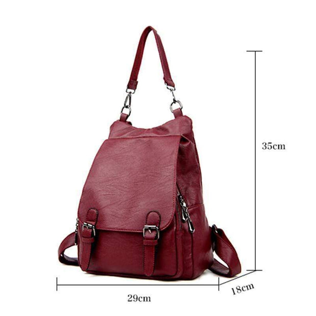 obangbag Ladies Multi Pockets Large Capacity Leather Backpack Shoulder Bag