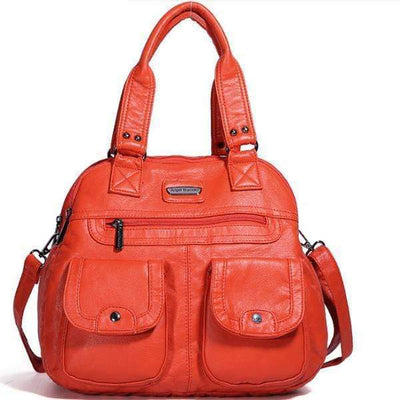 Obangbag Ladies Multi Pockets Large Capacity Leather Teacher Tote Bags