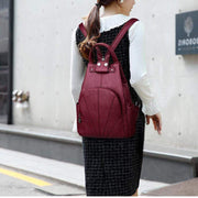 Obangbag Ladies Outdoor With Lots Of Pockets Leather Backpack
