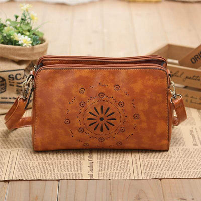 Obangbag Ladies Retro Hollow Double Zipper Mini Leather Shoulder Bag