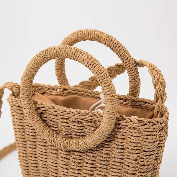 Obangbag Ladies Summer Holiday Woven Straw Rattan Beach Bag Mini Cute Small Bag Handbag