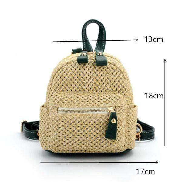 Obangbag Ladies Summer Multi Function Chic Straw Rattan Woven Mini Small Cute Backpack