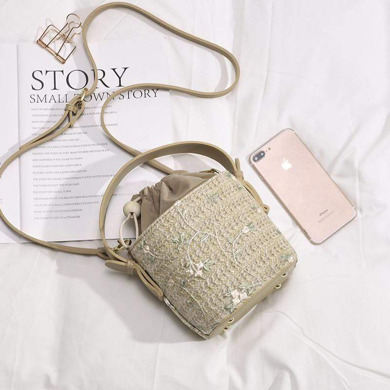 Obangbag Ladies Summer Straw Bag Beach Bag Portable Bucket-Shaped Handbags Shoulder Diagonal Package