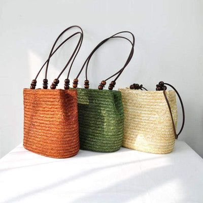 Obangbag Ladies Summer Straw Rattan Beach Tote Bags Shoulder Bags