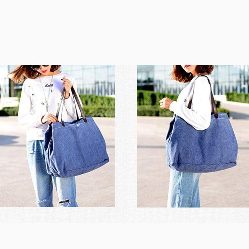 Obangbag Large Capacity Multi Layer Retro Casual Canvas Handbag
