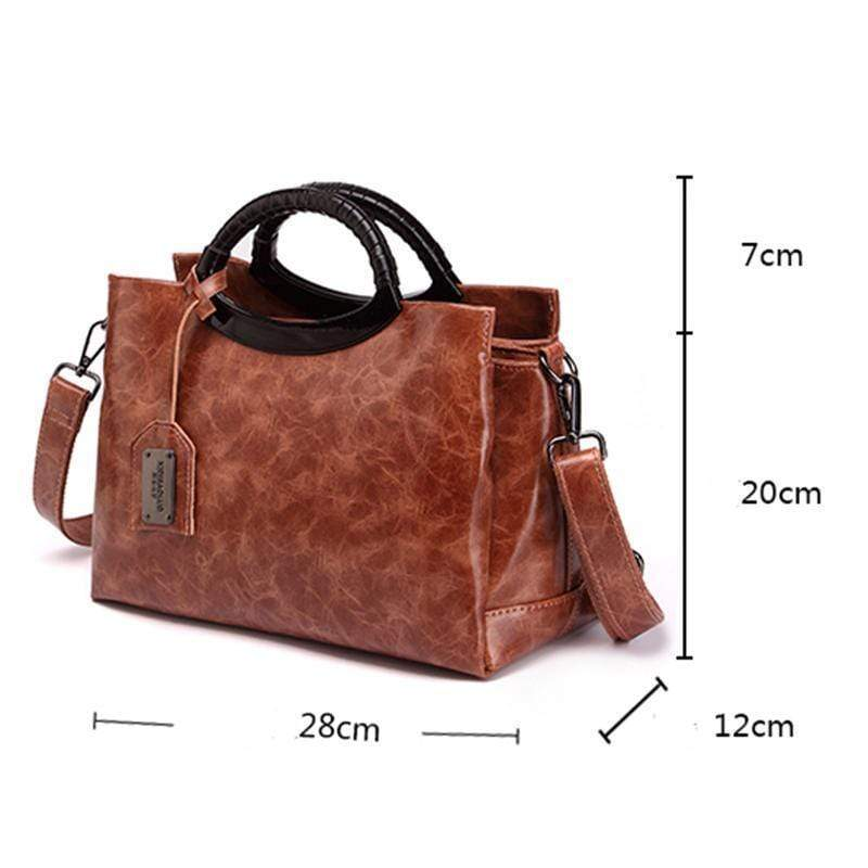 Obangbag Large Capacity Multi Purpose Ladies Work Retro Leather Tote Bag