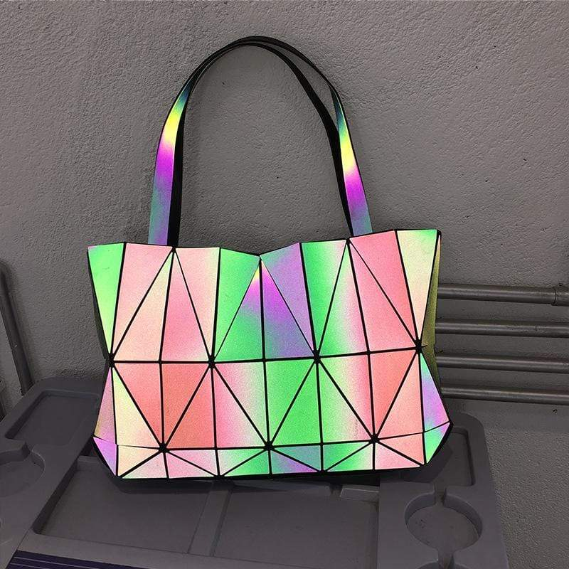 Obangbag Laser Luminous Women Fashion Stylish Professional Large Capacity Laser Luminous PU Handbag Shoulder Bag Laptop Bag for Work