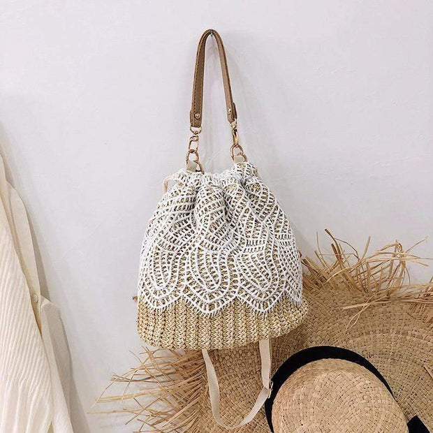 Obangbag Leaf-apricot Summer Lace Rattan Straw Leaf Woven Bucket Handbag Beach Bag for Ladies