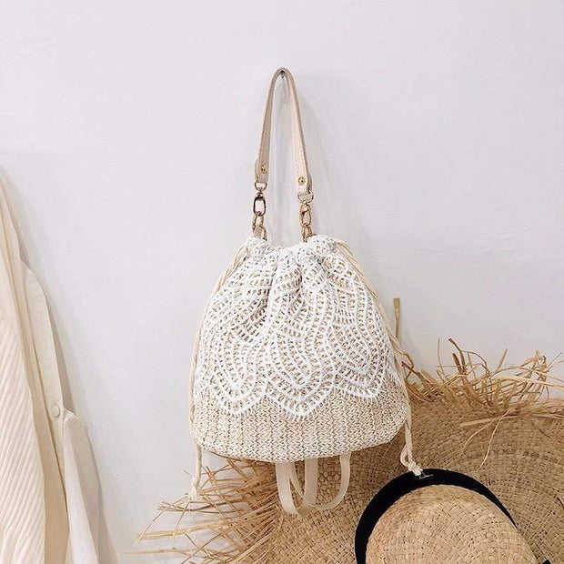 Obangbag Leaf-white Summer Lace Rattan Straw Leaf Woven Bucket Handbag Beach Bag for Ladies