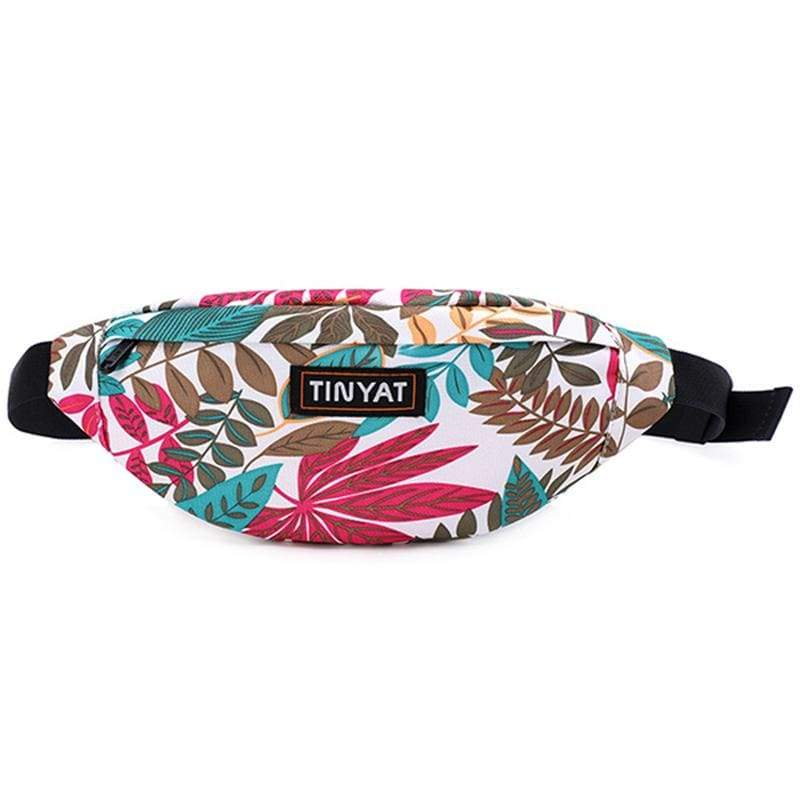 Obangbag Leaf White Unisex Lightweight Multifunction Casual Sports Outdoor Waterproof Fanny Pack Phone Bag