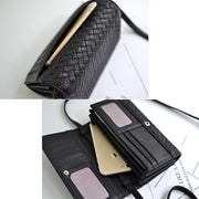 Obangbag Leather Woven Wallet Multi Slot Card Holder Chic Women Shoulder Bag