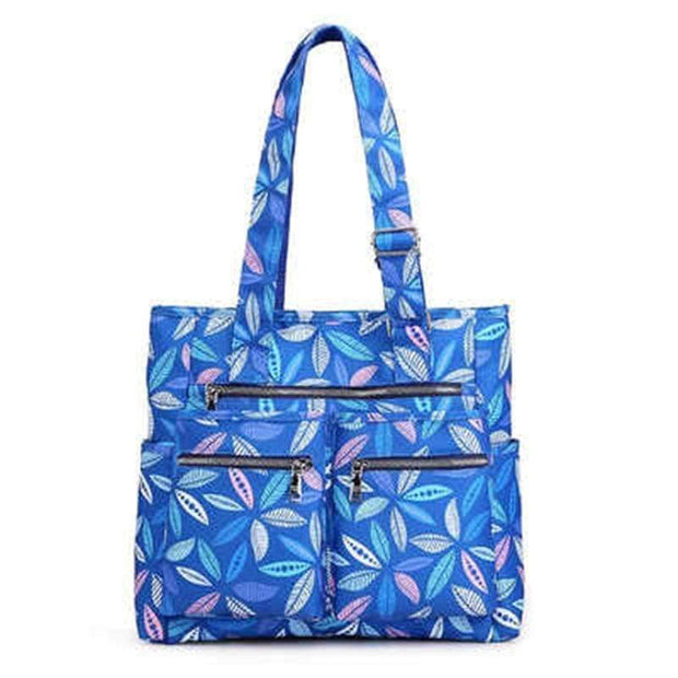 Obangbag Leaves Waterproof Women's Large Capacity Canvas Travel Shoulder Bag Tote Bag