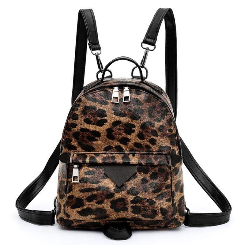 Obangbag Leopard Print Women Cute Vinutage Roomy Lightweight Snake Skin Pattern Leopard Print Leather Backpack Shoulder Bag