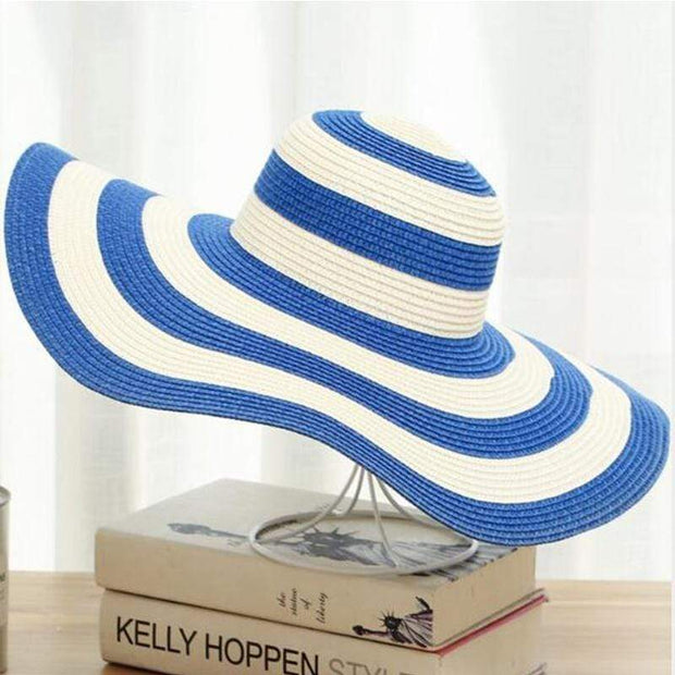 Obangbag Light blue Striped Sun Hat Women Overflowed Floppy Sun hats