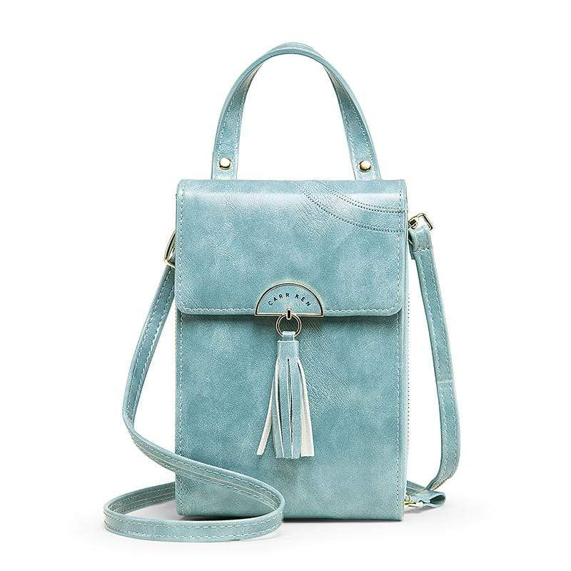 Obangbag Light Blue Women Vintage Cute Multi Layers Roomy Portable Leather Phone Bag Wallet Crossbody Bag