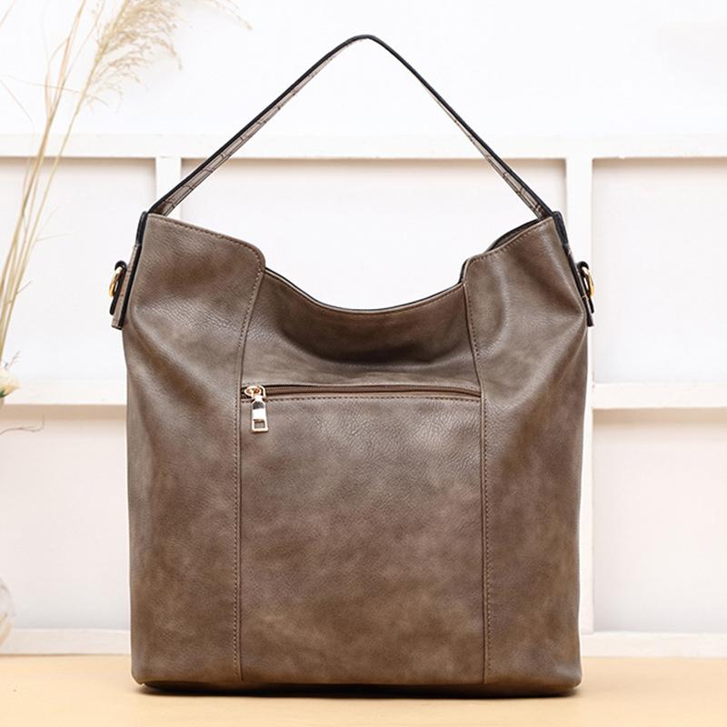 Obangbag Light Brown Women Big Stylish Vintage Large Capacity Multi Pockets Leather Shoulder Bag Crossbody Bag