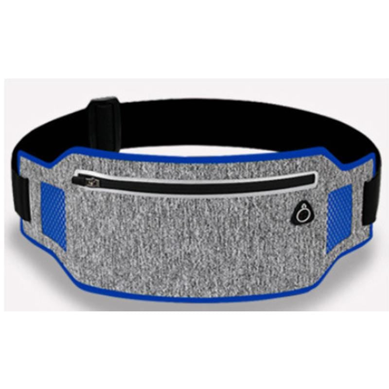 Obangbag Light Gray+Dark Blue Unisex Casual Simple Multifunction Outdoor Anti-theft Running Lycar Waterproof Fanny Pack for Sport
