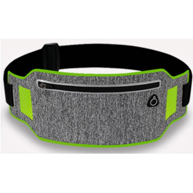 Obangbag Light Gray+Green Unisex Casual Simple Multifunction Outdoor Anti-theft Running Lycar Waterproof Fanny Pack for Sport