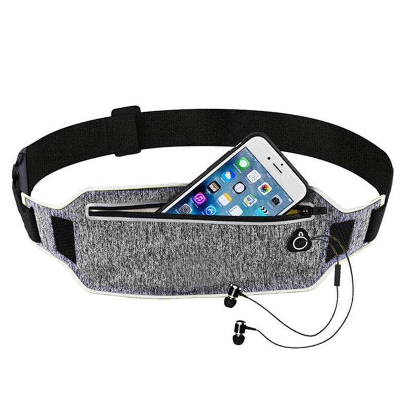 Obangbag Light Gray+Silver Unisex Casual Simple Multifunction Outdoor Anti-theft Running Lycar Waterproof Fanny Pack for Sport