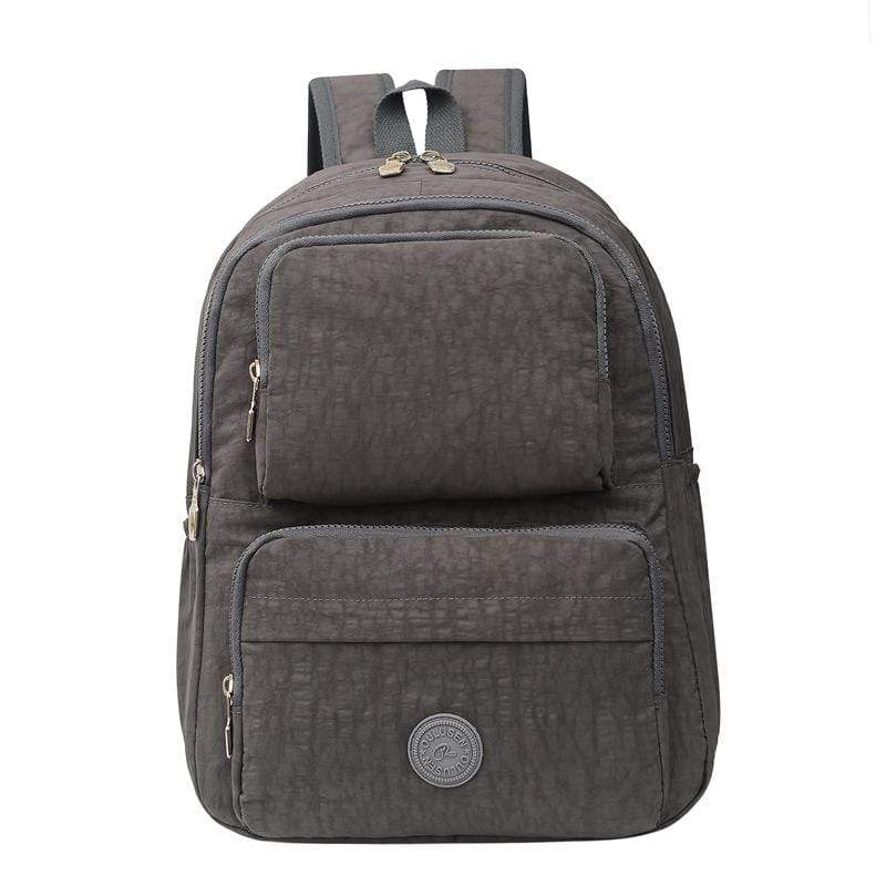 Obangbag Light Gray Unisex Big Casual Multi Pockets Multifunction Lightweight Nylon Backpack for Work for Travel
