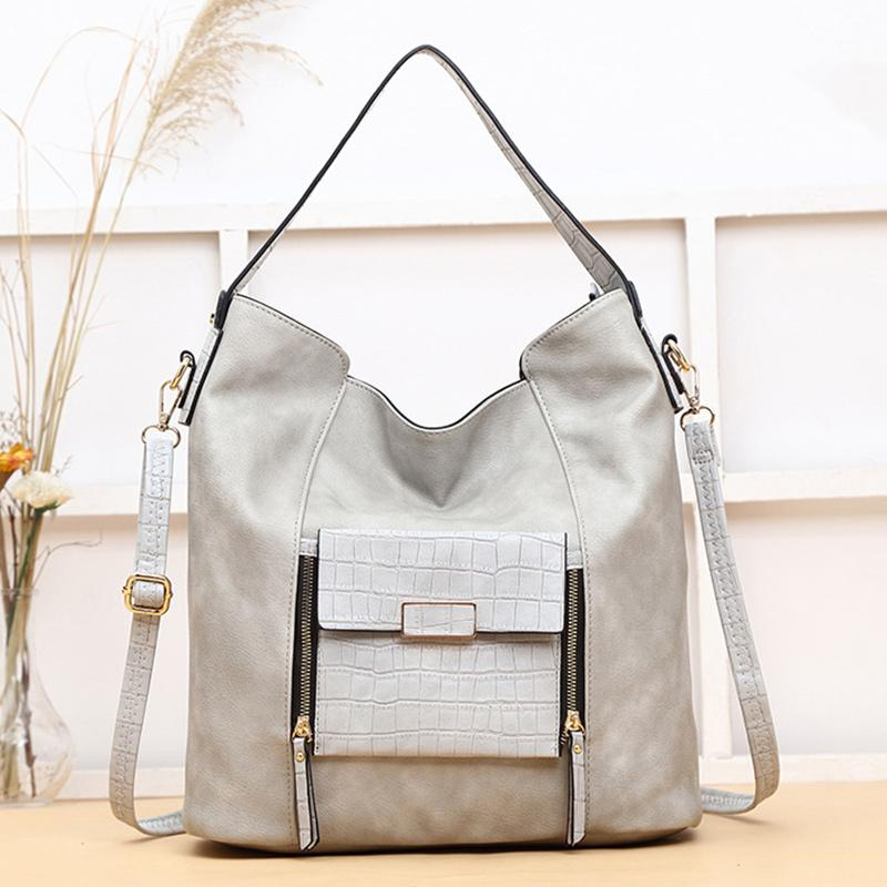 Obangbag Light Gray Women Big Stylish Vintage Large Capacity Multi Pockets Leather Shoulder Bag Crossbody Bag