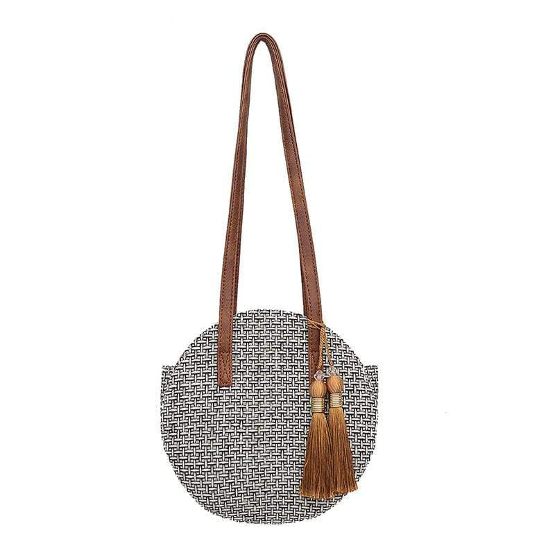 Obangbag Light Gray Women Chic Vintage Tassel Lightweight Round Woven Straw Shoulder Bag Crossbody Bag for Travel for Beach