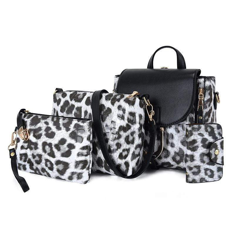 Obangbag Light Gray Women Vintage Multifunction Roomy Leopard Pattern Leather Bag Set Backpack Crossbody Bag Purse