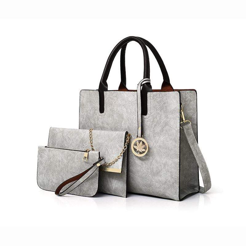 Obangbag Light Grey Women Chic Stylish Professional Roomy Multifunction Bag Set Purse Handbag Crossbody Bag for Work