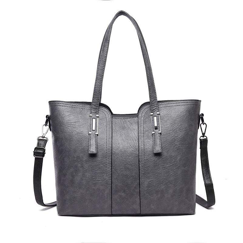 Obangbag Light Grey Women Vintage Stylish Large Capacity Professional Soft Leather Handbag Shoulder Bag Crossbody Bag for Work