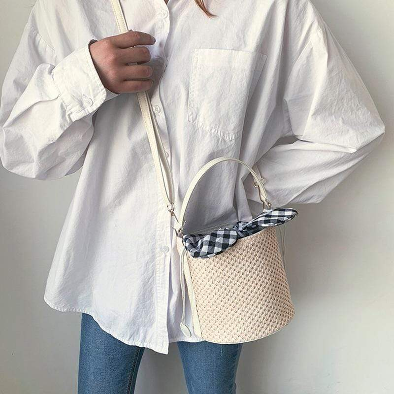 Obangbag M / white Ladies Summer Straw Bag Beach Bag Portable Bucket-Shaped Handbags Shoulder Diagonal Package
