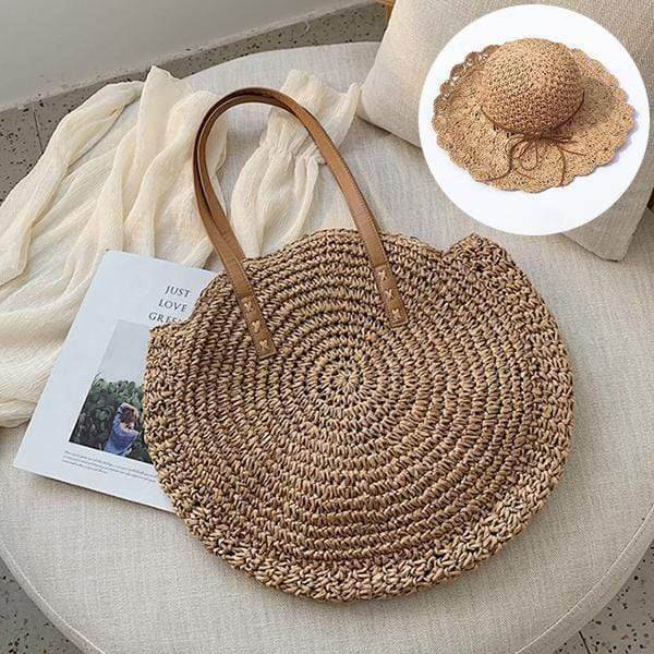 Obangbag Match / Brown Bag 01+Brown Hat Summer Hand Woven Round Straw Beach Handbag Bohemian Straw Hat