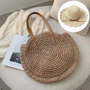 Obangbag Match / Brown Bag 01+White Hat Summer Hand Woven Round Straw Beach Handbag Bohemian Straw Hat